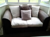 2 seater settee x 2. Brown Faux leather with cream cord cushions. Nice condition.