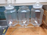 Set of 3 Drinks Dispensers with Stand - perfect for weddings or parties!