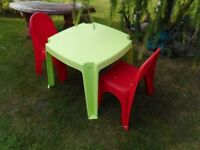 plastic childs table and two chairs