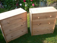 whitewood/pine 3 drawer chests x2