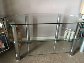 TV Unit Stand with Clear Glass Shelves