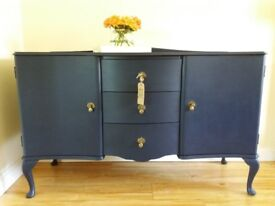 Beautifully Upcycled Vintage Serpentine Sideboard in Midnght Blue