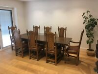 8 x Tudor Style Oak Dining Chairs with Leather Upholstery
