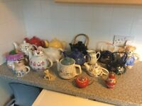 A varied selection of ornamental teapots