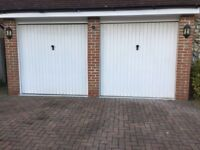 2m x 2m Metal Garage Doors white with mechanism ALREADY REMOVED READY TO GO