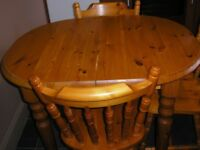 Oval Pine Kitchen Table and 3 Chairs