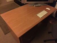 Solid Wooden Desk with filing cabinet