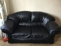 second hand 2 seater black leather sofa!!COLLETION ONLY!!