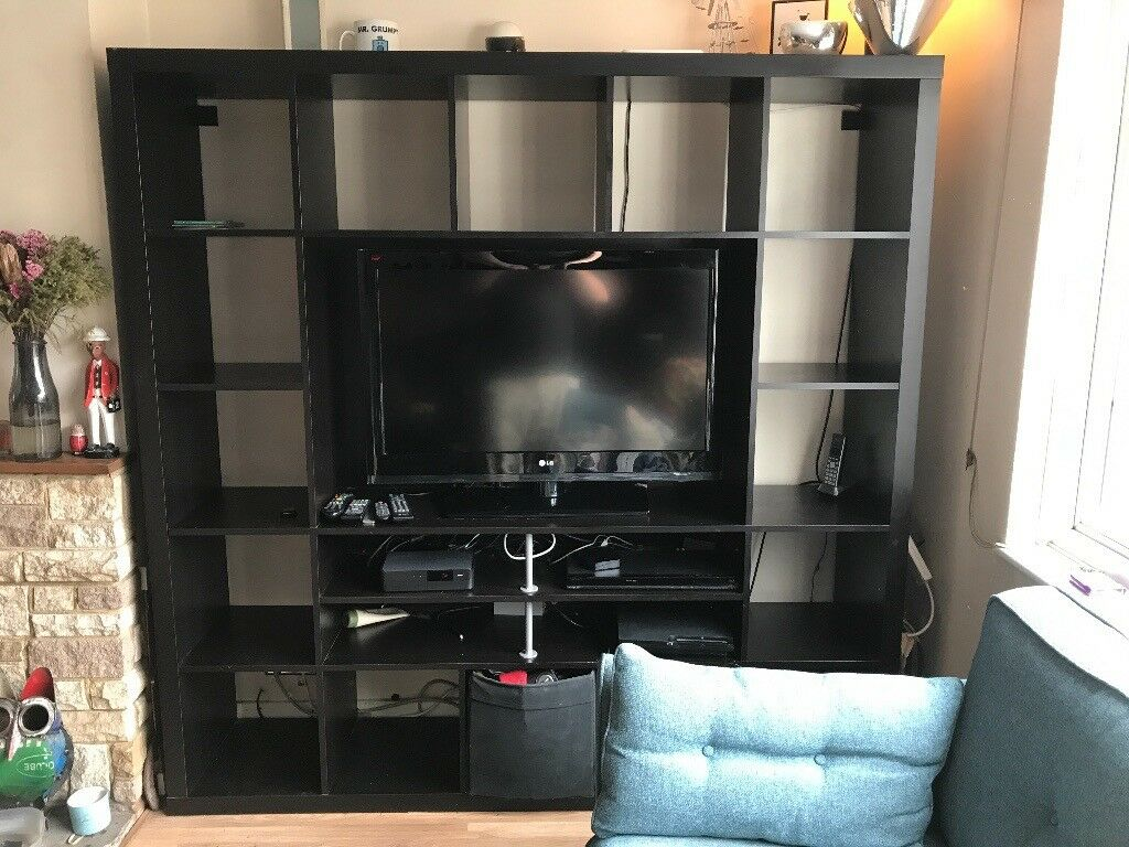 Ikea Expedit Tv Shelving Unit Black Brown