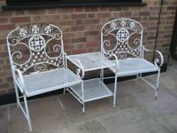 Metal Framed Unit of Two Seats with table in between finished in Cream