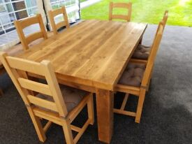 Reclaimed Rustic Wood table: Thick, chunky and solid with 6 chairs and bench option: British Made