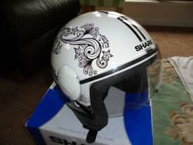 Ladies Shark black and white open faced helmet.