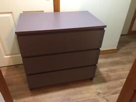 Ikea Malm 3 draw set of drawers, purple.