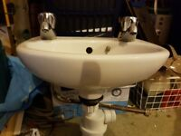White Handwash Basin Complete with Taps