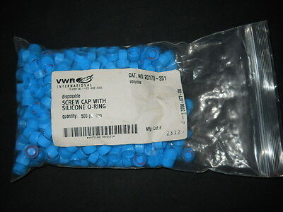 420 Vwr Blue Disposable 2ml Tube Screw Caps W Silicone O-ring 20170-251