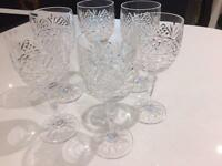 6 Galway crystal wine glasses
