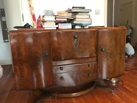 Walnut Veneer Vintage Cocktail Cabinet