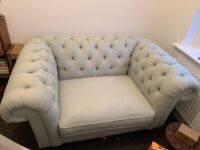 Blue Chesterfield Loveseat Sofa Couch