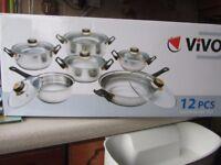 VIVO 12PCS COOKWARE SET 6 PANS 6 LIDS STAINLESS STEEL