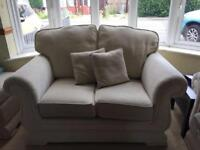 2 seater sofa settee, 2 armchairs and poufe
