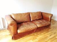 Vintage style Laura Ashley leather sofa