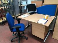 Desk, Chair, Partition Screen Package Deal