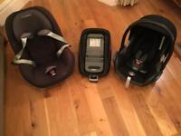 Maxi-Cosi Cabriofix & Pebble seats plus Isofix Family Fix base 0-4yrs all for £130