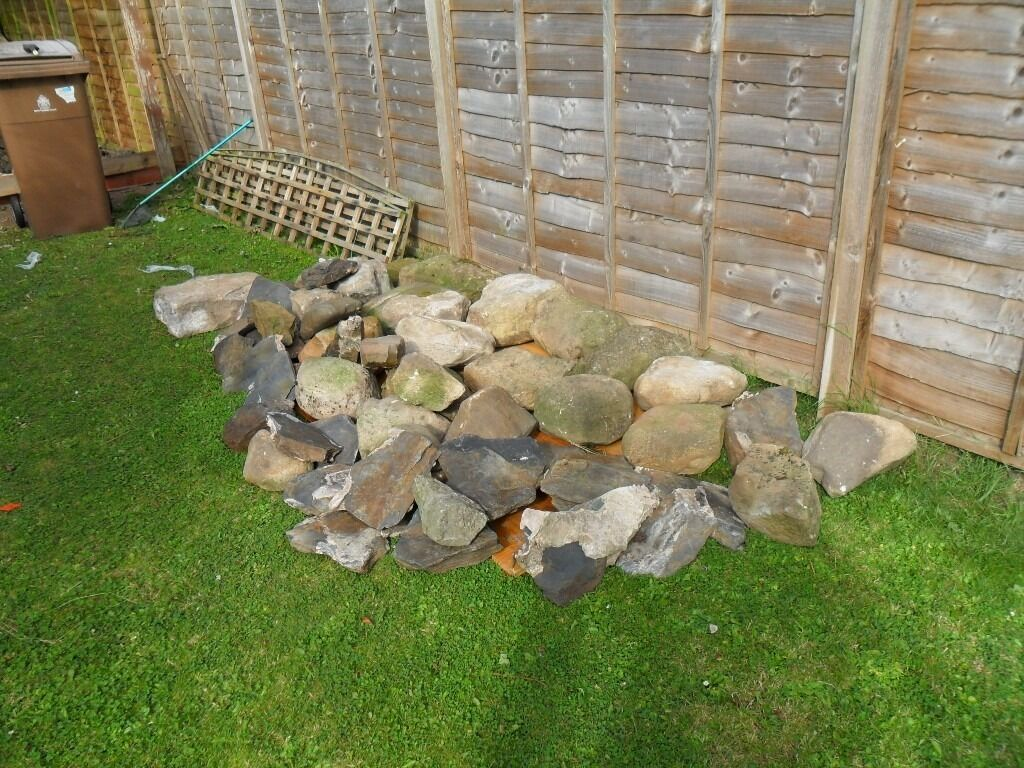 Quantity of rockery stones small amount of slate a for Preformed garden waterfalls