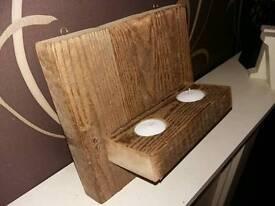 Reclaimed timber tealight holder