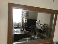 Wooden large wall mirror