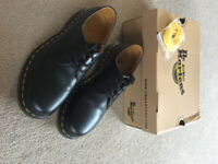 Genuine Dr Marten Shoes. Black with yellow stitching. Uni-sex size 6 - style 1461