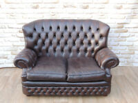Brown Leather 2 seater sofa Chesterfield (Delivery)
