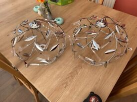 Ceiling light fittings, 2, chrome and glass effect