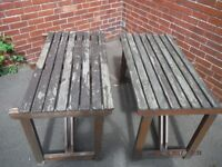 "2x Job Lot Beer Garden Patio Wood Bench Tables 46x27x29"" Solid Wood Restoration Project,USED"