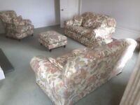 Floral Lounge Suite - 2 Settees, Chair & Foot Stool. Excellent Condition as hardly used.