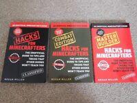 Minecraft Guide Books - 3 Books Set - Hacks, Combat, Master Builder - LIKE NEW!
