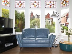 Alaska Steel Blue SOFOLOGY FELLINI Leather 2 Seater Sofa