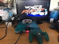 N64 Nintendo 64 ice blue & clear ltd ed console & game