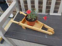 Garden Ornament (wooden wheel barrow)