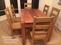 Lovely Indigo Wooden Plank Table with 6 x Provence Dining Chairs