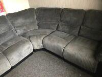 Jumbo cord Reclining corner sofa