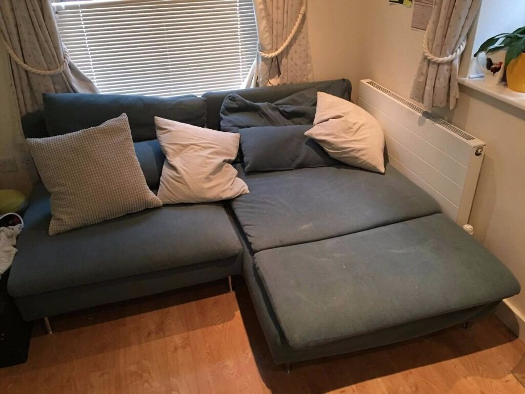Used turquoise s derhamn sofa with chaise longue in for Chaise longue bleu turquoise