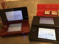 Nintendo 3DS red and DS black