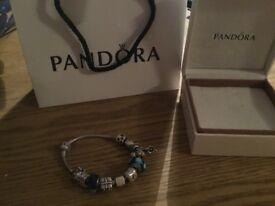 Genuine sterling silver pandora moments bracelet and 11 pandora charms