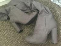 Grey thigh length heel boots