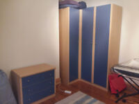 Large corner wardrobe and chest of drawers suitable for teenager's or child's bedroom