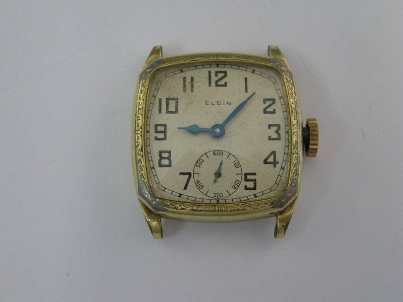 Vintage Elgin Watch Fancy Green Gold Filled Case Art Deco 1920-30