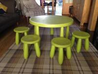 Ikea Child's Table and 4 Stools (Lime Green)