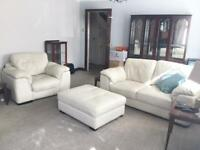 Cream leather suite / sofas /armchair and storage foot stool