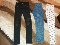 3 pairs of trousers 8-9 years.black are new